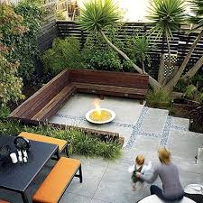 Landscaping Ideas For Small Yards by Round Fire Pit And Concrete Patio For Modern Landscaping Ideas For