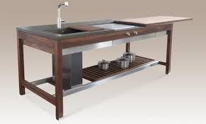 compact kitchen island stainless steel and walnut compact kitchen island design a kitchen