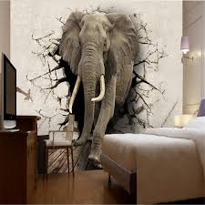 elephant living room beibehang custom wallpaper 3d stereo poqiang abstract painting