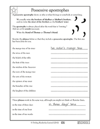 3rd grade writing worksheets possessive apostrophes writing
