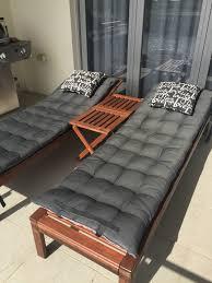 Cushions For Reclining Garden Chairs Ikea Set Of 2 Applaro Acacia Wood Sun Loungers Incl Bonus Cushions