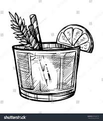 vintage cocktail alcoholic cocktail hand drawn sketch vector stock vector 590202776