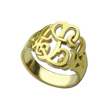Monogram Gold Ring Aliexpress Com Buy Gold Color Monogram Ring Personalized Hand