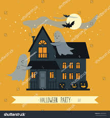 Halloween Party Haunted House Cute Poster Halloween Party Haunted House Stock Vector 308533964