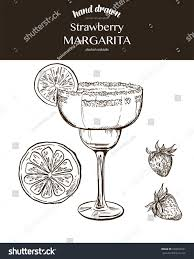 Strawberry Margarita Vector Sketch Illustration Cocktails Stock