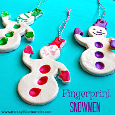fingerprint snowman christmas ornament messy little monster