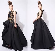 haute couture black gold 2016 prom dresses retro lace ball gown