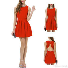 s5q womens red cocktail party mini dress korean elegant evening