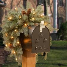 darby home co frosted arctic spruce pre lit mailbox swag reviews