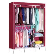 Clothes Cabinet Folding Clothes Closet Non Woven Fabric Wardrobe Double Rod