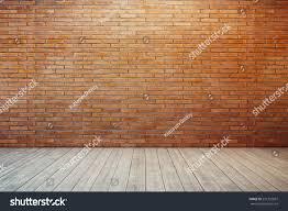 empty room red brick wall wooden stock illustration 231732097