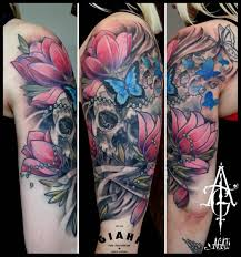 cracked butterfly flowers skull by agat artemji best