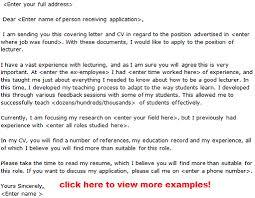 lecturer job application letter examples learnist org