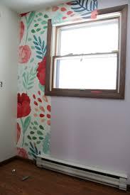 modern floral wallpaper bright green door