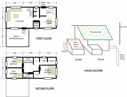 house floor plan and schematic diagram for solar thermal pv