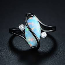 s ring oval cut opal s ring in black rhodium assorted sizes