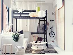 get the best interior style from gorgeous ikea bedroom design black iron loft bed frame over white fabric sofa bed also unique drum shade hanging lights in small boys bedroom