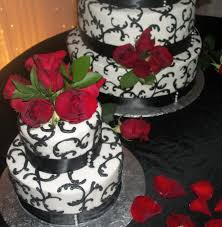 elegant red rose and black satin wedding cake 5 tier with 2 side