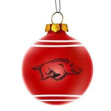 arkansas razorbacks ncaa 2014 glitter logo glass ornament