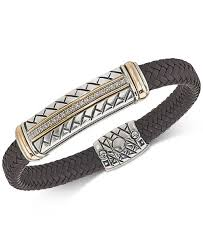 mens jewelry leather bracelet images Esquire men 39 s jewelry diamond brown woven leather bracelet 1 4 ct tif