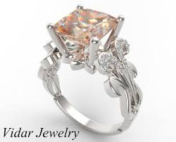 engagement rings platinum images Custom white gold princess cut morganite engagement ring vidar jpg