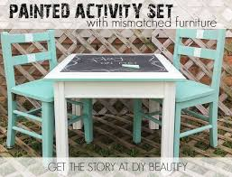 Chalk Paint Table And Chairs Create An Activity Table Set For Kids With Mismatched Furniture
