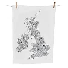 Map Of British Isles Word Map Of The British Isles Tea Towel By Alison Hardcastle