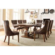 oak dining room sets homelegance marie louise 9 piece expandable trestle dining table