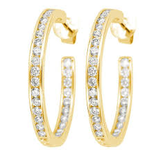 gold diamond hoop earrings 1 62ct f i1 channel set diamond hoop earrings