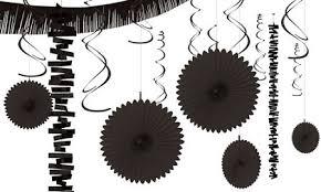 black decorations black balloons banners confetti