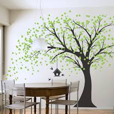 beautiful large windy tree wall decal with birdhouse kitchen