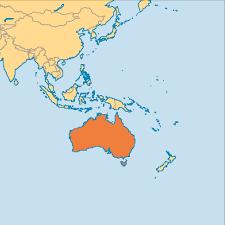 Australian Map Of The World by Australia Operation World
