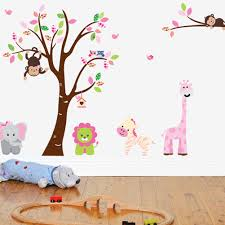 nursery pink colourful animals large uk wall sticker nursery pink colourful animals large uk wall sticker