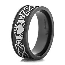 claddagh rings men s black and silver claddagh ring titanium buzz
