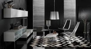 Black And White Modern Rug by Black And White And Red Living Room Grey Pillows Wooden Sideboard