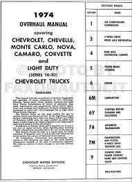 1974 chevy car u0026 10 30 truck overhaul manual original