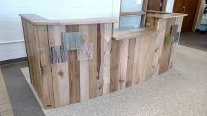 Custom Made Reception Desk Hand Crafted Reclaimed Wood And Steel Reception Desk By Re Dwell