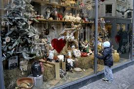 Store Window Decorations For Christmas by Copenhagen Denmark Small Chidlren Looking At Christmas