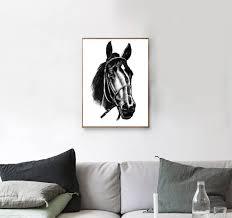 horse print black horse print printable art farm animal