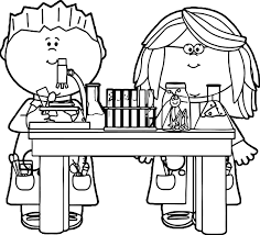 kids in science class in science class image coloring page