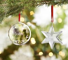 glass personalized ornaments pottery barn