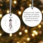 flower girl ornament personalized wedding party christmas ornament 1 sided