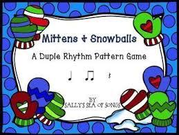 pattern practice games mittens snowballs duple rhythm patterns rhythm game koosh ball