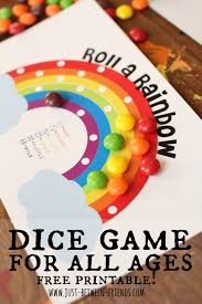 roll a rainbow free printable just between friends