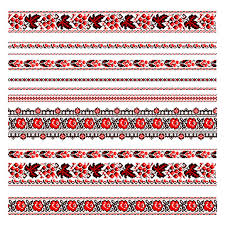 ukraine pattern vector ukrainian folk embroidery red and black patterns on white stock