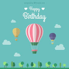 birthday card with three air balloons vector free download