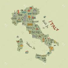 Torino Italy Map by Italian Map With Handdrawn Symbols And Lettering Elements Royalty