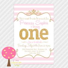 First Year Invitation Birthday Cards Pink And Gold First Birthday Party Invitation Gold Glitter