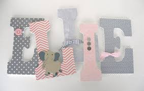 Nursery Wall Decor Letters Pink And Gray Elephant Custom Wooden Letters Baby