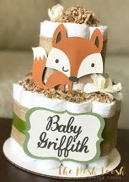 gender neutral woodland diaper cake baby shower centerpiece